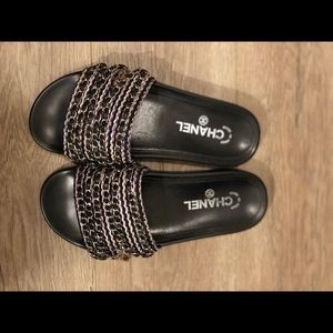 Chanel Tweed Chain CC Slide Sandals